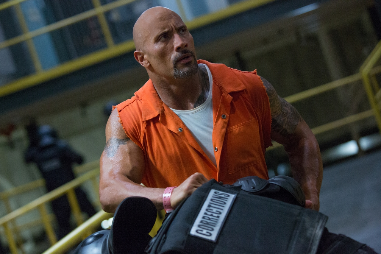 Dwayne Johnson in THE FATE OF THE FURIOUS. (Photo by Matt Kennedy / courtesy of Universal Pictures).