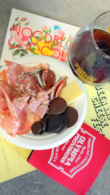 Portland Beer and Cheese Fest 2015, charcuterie by Olympica Provisions and chocolates by Woodblock Chocolate helped compliment the beer and cheese pairings (here Lompoc Doppelbock with Le Saut du Doubs Summer comte cow cheese from France)