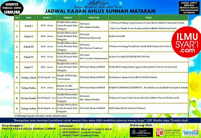 Informasi Jadwal Kajian Sunnah di Kota Mataram