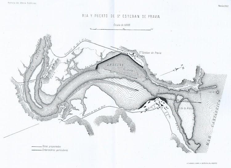 Plano de la ría y puerto de San Esteban de Pravia en los primeros años del siglo XX. Revista de Obras Públicas.jpg