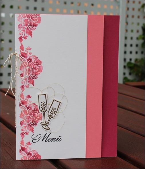 Florale Grüße Stampin Up Hochzeit Einladung Menükarte Platzkarte Pink Rosa Gold Schimmer 03