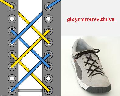 Cách buộc dây giày Converse kiểu mắt cáo 1