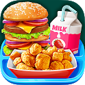 School Lunch Food - Burger, Popcorn Chicken & Milk icon