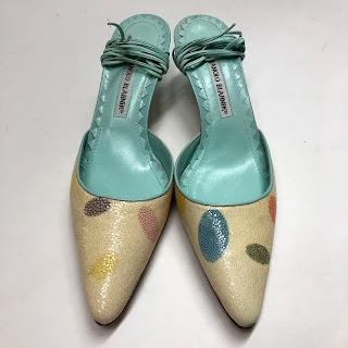 Manolo Blahnik Shagreen Kitten Heel Sandals