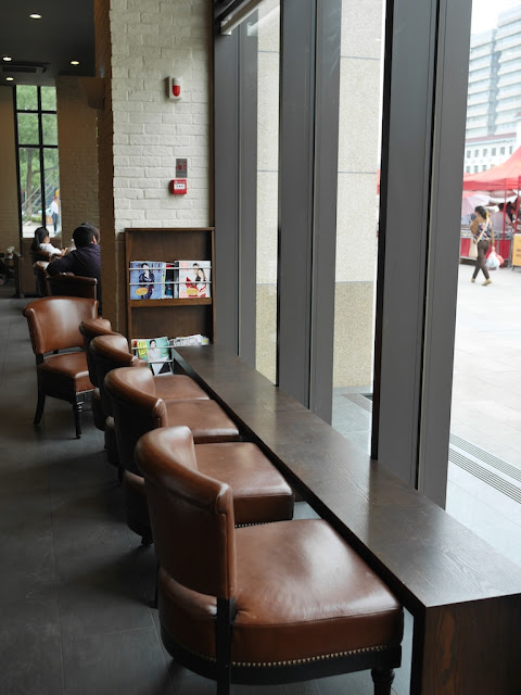 seats facing a window at Starbucks in Hengyang