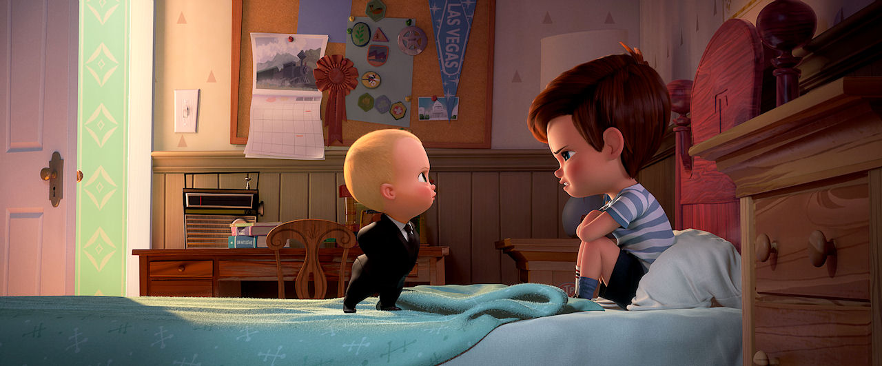 (L-R) Boss Baby (voiced by Alec Baldwin) and Tim (voiced by Miles Bakshi) in THE BOSS BABY. (Photo courtesy of DreamWorks Animation).