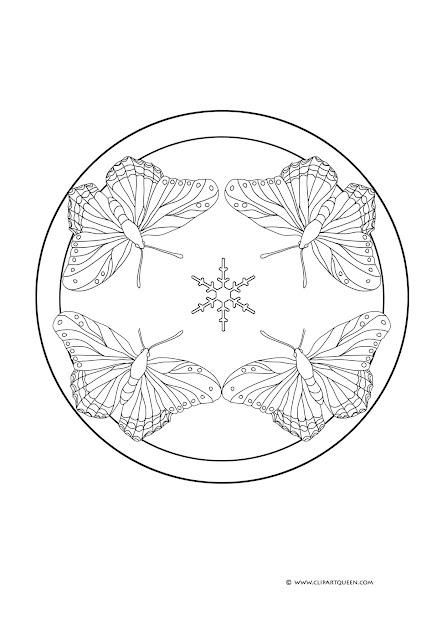 Butterfly On Roses  Butterfly Mandala Coloring Page