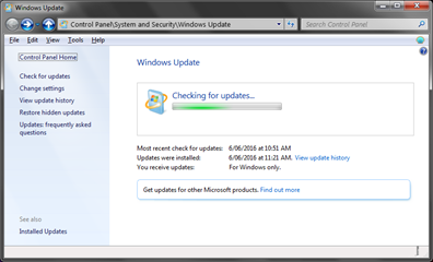 windows updates chceking
