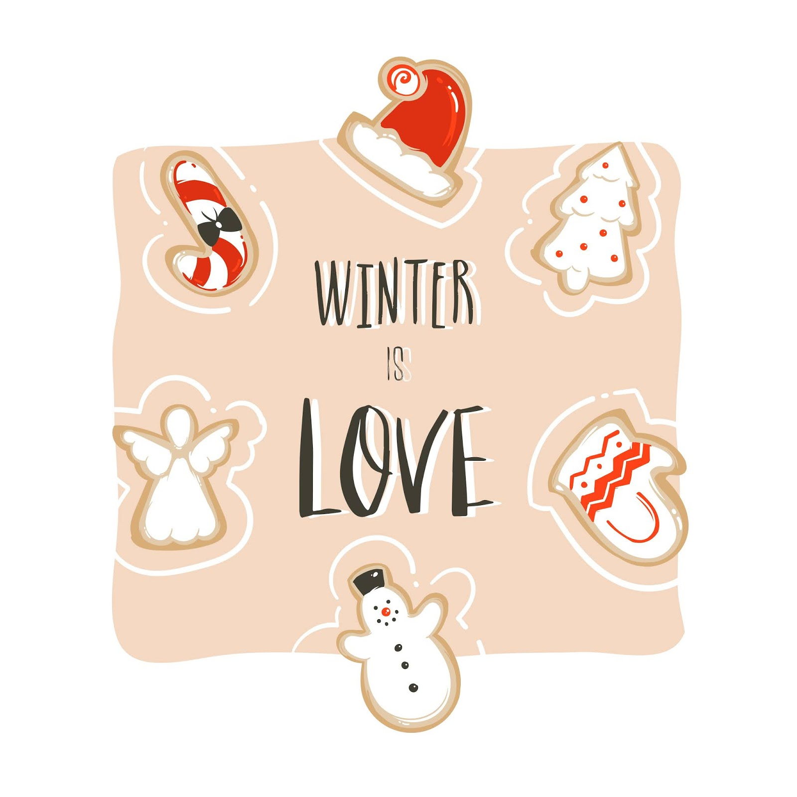Hand Drawn Abstract Fun Merry Christmas Time Cartoon Card Template With Cute Illustrations Gingerbread Cookies Handwritten Modern Calligraphy Winter Is Love Isolated White Background Free Download Vector CDR, AI, EPS and PNG Formats