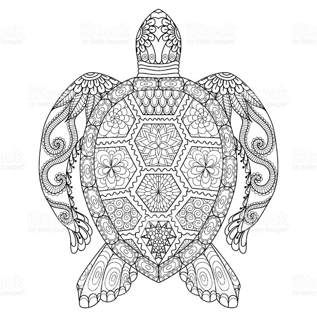 Adult  Animal Animal Markings Boho Turtle Coloring Page