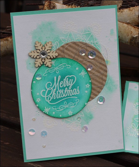 Adventskalender to go Stampin Up Aquarell Snowflake Mint Holz Schneeflocken Embellishments 01