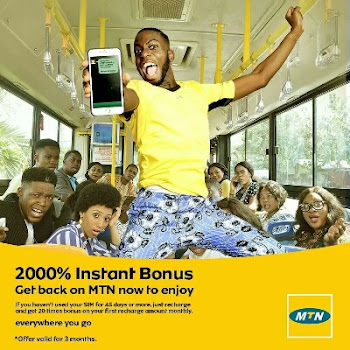 MTN 2000% instant Bonus: Recharge N200 and get N4000 for calls and data