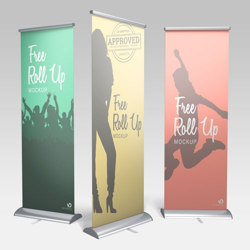 Set de 3 roll-up mockup realista