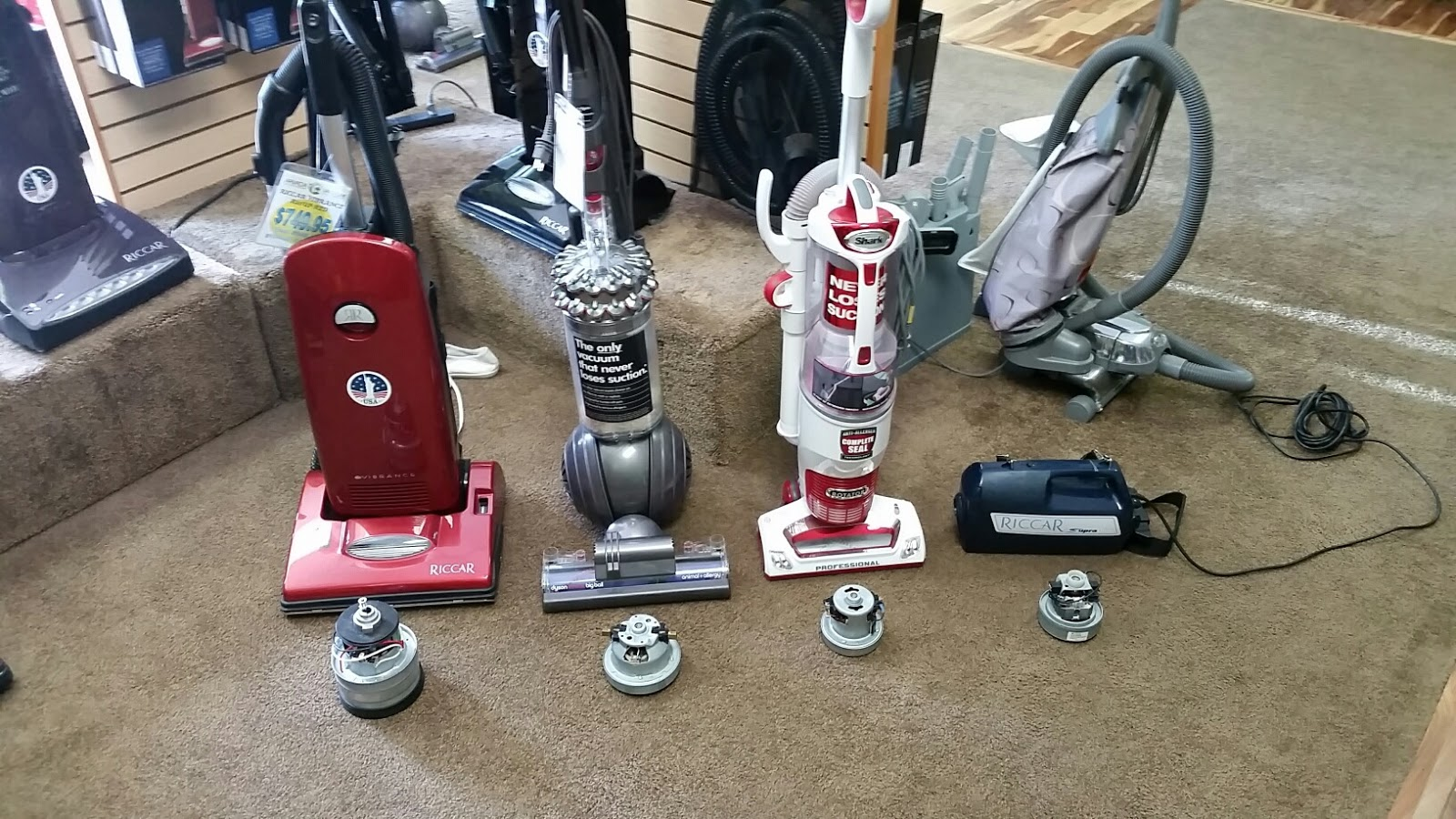 The traveling tacony rep shark vs riccar and others for 1 stage vs 2 stage vacuum motor