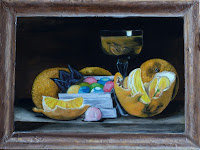 Still Life glass of Whiskey Brandy oranges and Candy marmalade Oil painting AYA