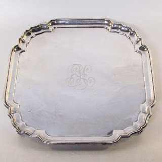Sterling Silver HEAVY Gorham Square Footed Tray