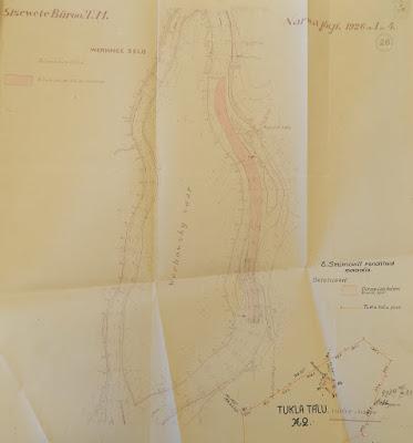 План  углубления в порогах реки Наровы, около Верховского острова. В правом нижнем углу обозначено место хранения динамита.(Из материалов Эстонского государственного архива)