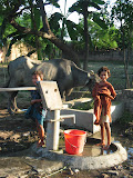 Getting water from a village pump