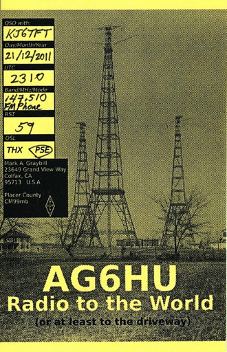 AG6HU Radio to the World (or at least to the driveway.)