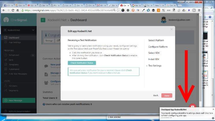 Web Push Notification OneSignal Receive Test Notification