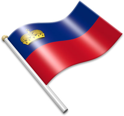 The Liechtenstein flag on a flagpole clipart image