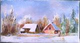 Zima w Lesie, olej, płótno, 13x24 cm