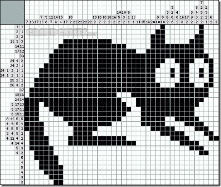 siluetas gatos punto de cruz monocromo  (13)