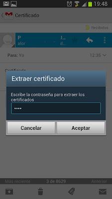 Instalar certificado digital en Android desde el correo electrónico en un Samsung Galaxy S3