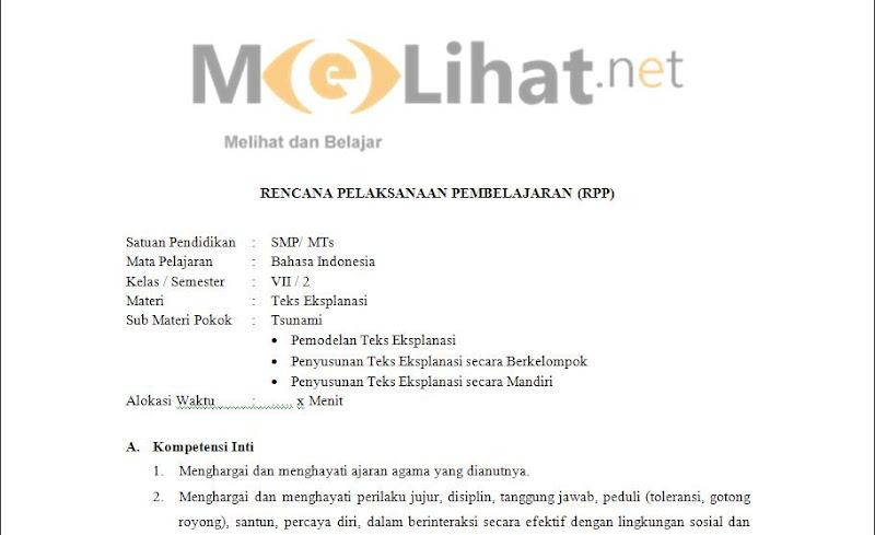 RPP (BI) Bahasa Indonesia SMP-MTs Kurikulum 2013 Kelas VII-7 Terbaru
