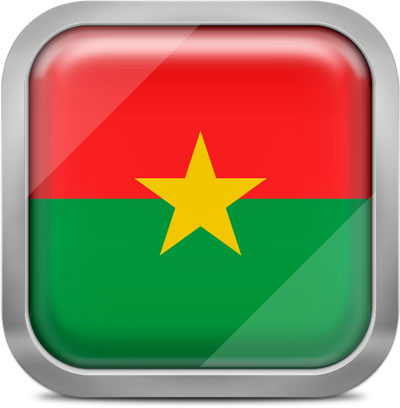 Burkina Faso square flag with metallic frame