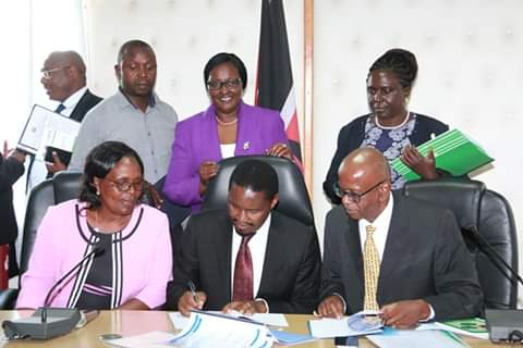 Agriculture CS Mwangi Kiunjuri with his colleagues in the ministry. PHOTO | RMS