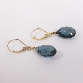 14K Gold and Blue Stone Faceted Teardrop Earrings