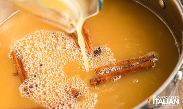 wassaikl recipe liquids combined in a pot