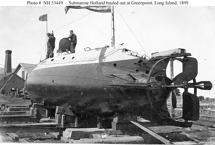 Submarine Holland (later USS Holland) hauled out at Greenpoint, Long Island, 1899.