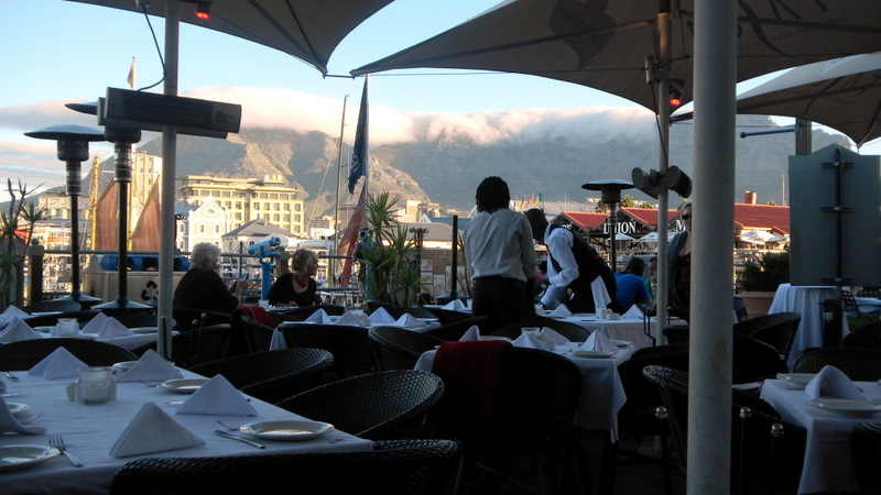 Our restaurant on the Cape Town waterfront with Table Mountain in background