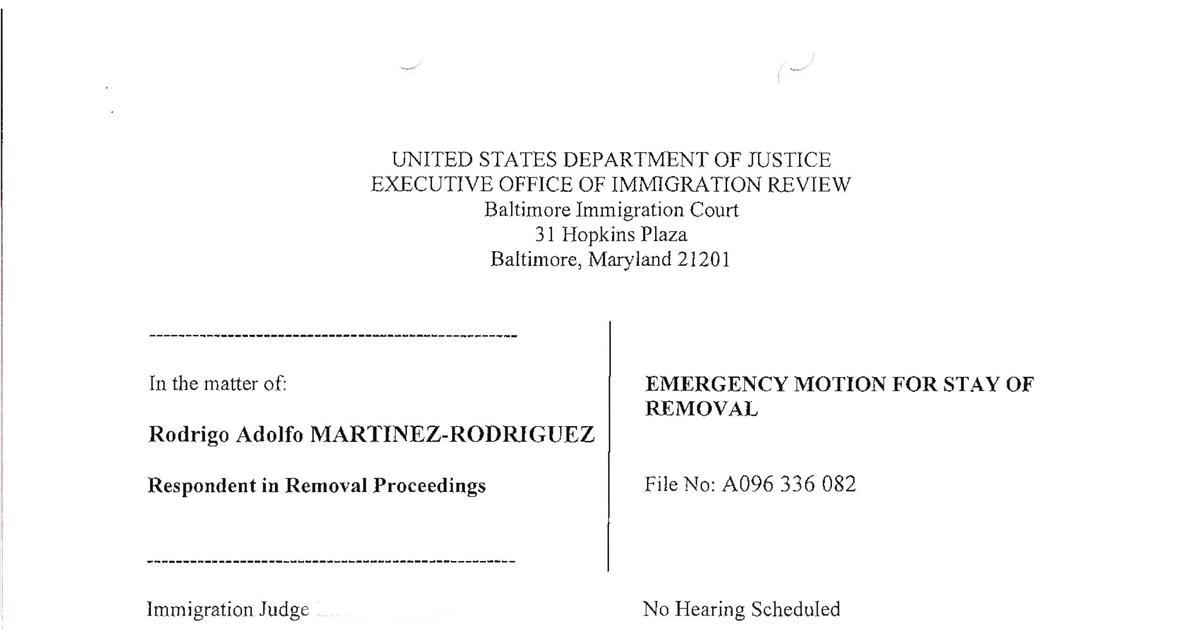 STOP THE DEPORTATIONS THE DOMA PROJECT: Rodrigo Martinez