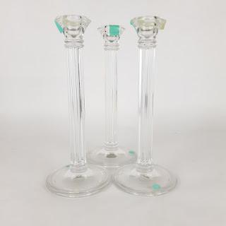 Tiffany & Co. Glass Candlestick Set of 3