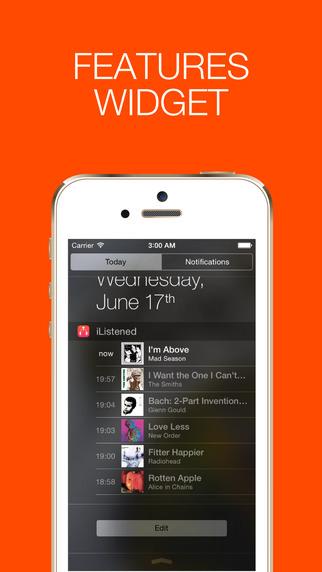 iPhoneの通知センターに曲の再生履歴を記録