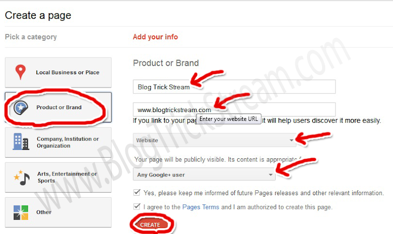 Create a page in Google plus