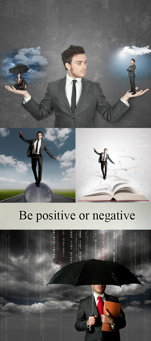 Stock Photo: Be positive or negative