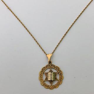 14K Gold Judaica Pendant Necklace