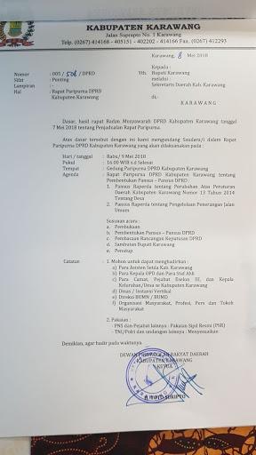 Besok Sore ,DPRD Karawang Menggelar Rapat Paripurna Dengan Dua Agenda Penting