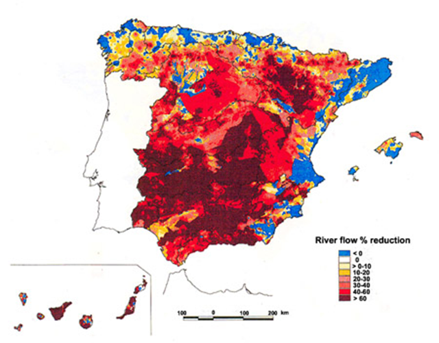 River flow percentage reduction in Spain during the drought period 1991-95. Graphic: College of Natural and Agricultural Sciences