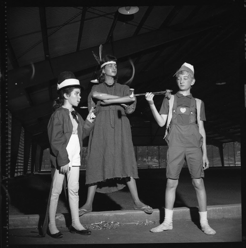 Publicity stills for the Teenage Drama Workshop production of Pinocchio. In rehearsal costumes.