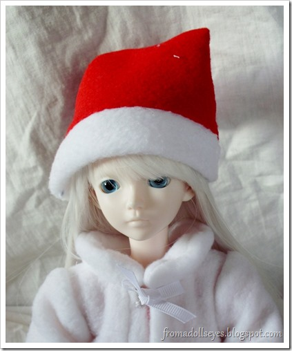 Ball Jointed Doll Wearing a Santa Hat