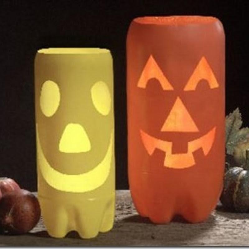 Manualidades Halloween hacer farolillos con botellas recicladas