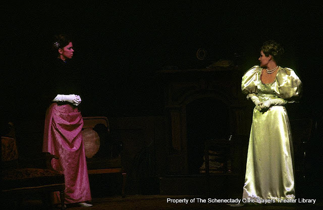 Jane Ainslie and Joanne Westervelt in LADY WINDERMERE'S FAN - January/February 1976.  Property of The Schenectady Civic Players Theater Archive.