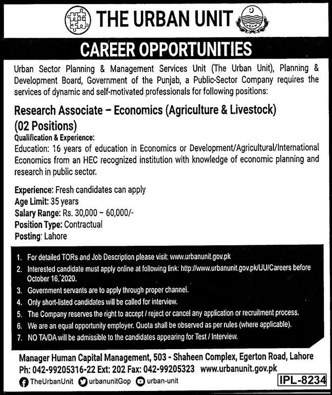 Urban Unit Lahore Jobs September 2020