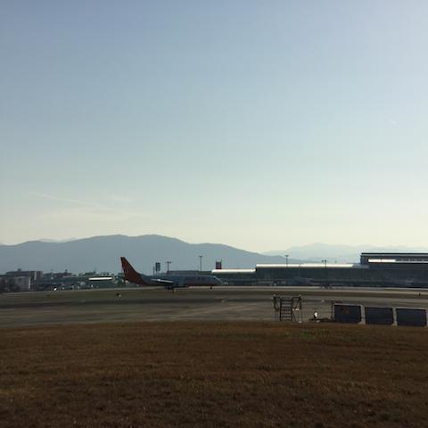 反対側のターミナルの屋根の反射