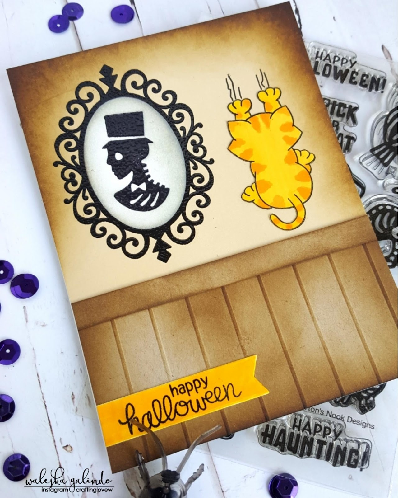 Happy Halloween Card by October Guest Designer Waleska Galinda | Creepy Cameos and Naughty Newton  stamp sets by Newton's Nook Designs #newtonsnook